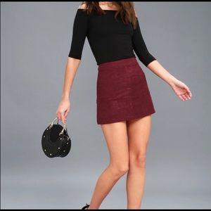 Lulu's burgundy Shenandoah suede skirt